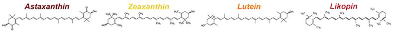 az asztaxantin, zeaxantin, lutein, likopin molekula szerkezete